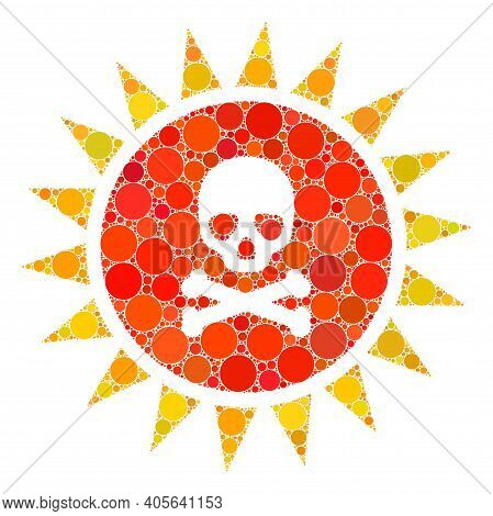Death Sun Radiation Vector Collage Of Round Dots In Different Sizes And Color Tinges. Round Dots Are