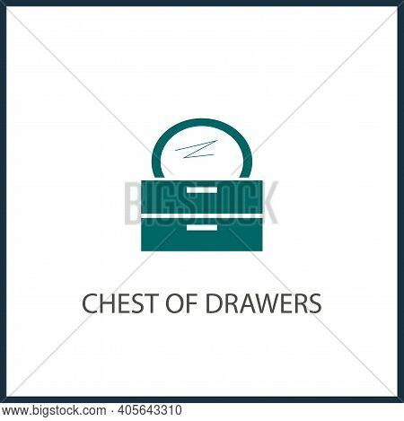 Chest Of Drawers With Mirror Vector Simple Icon. Commode Vector Icon