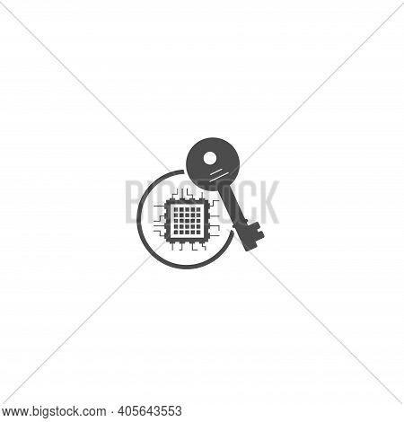 Crypto Key Vector Icon, Crypto Key Simple Isolated Icon