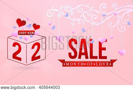 2.2 Sale, 2.2 Online Sale, Month Of Love Sale, Gift Box And Love With Ornament Swirl Love Number Sig