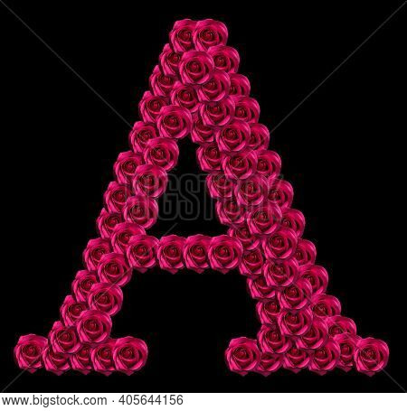romantic concept image of a capital letter A made of red roses. Isolated on black background. Design