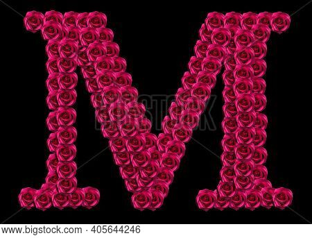 Romantic Concept Image Of A Capital Letter M Made Of Red Roses. Isolated On Black Background. Design