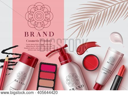 Cosmetic Mock Up Products Vector Template Design. Make Up Cosmetics Product With Elements Like Face