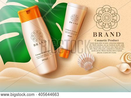 Cosmetics Sunscreen Product Vector Template Design. Cosmetic Products Mock Up In Seashore Background