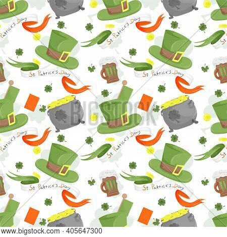 Seamless Background Design, On The Holiday Of St. Patricks Day Green Leprechaun Hat, Ireland Flag, F