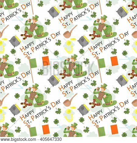 Seamless Background Design, On The Holiday Of St. Patricks Day, A Guy In A Leprechaun Costume With A