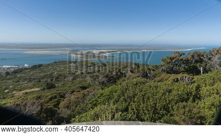 Bluff Hill View To Tiwai Point And The Industrial Smelter At Bottom Of South Island New Zealand.