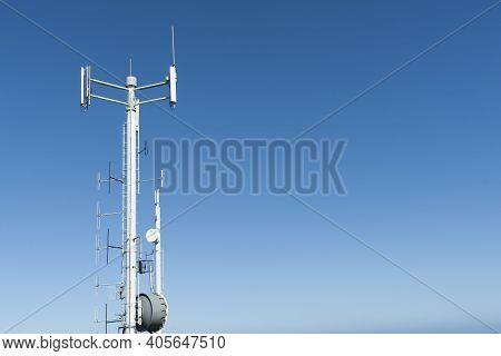 Tall Slender Communication Mast On Bluff Hill, Invercargill, New Zealand.