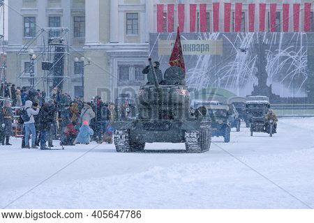 Saint Petersburg, Russia - January 24, 2019: Soviet T-34-85 Tank Opens A Military Parade In Honor Of