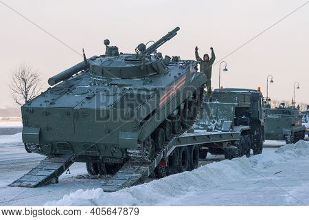 Saint Petersburg, Russia - January 24, 2019: Loading Of The Bmp-3 Infantry Fighting Vehicle Onto The