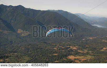 Chilliwack, British Columbia, Canada, 08-02-2015 Para Glider Launching From Mount Elk