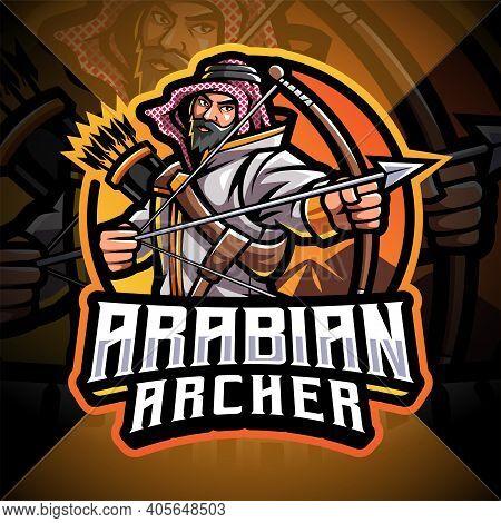 Arabian Archer Esport Mascot Logo Design With Txt