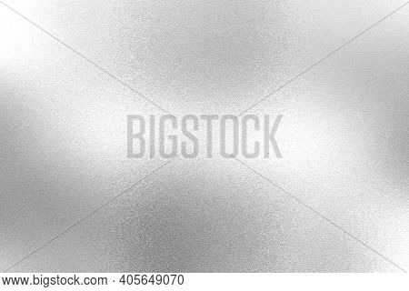 Light Shining On White Silver Foil Glitter Metallic Wall With Copy Space, Abstract Texture Backgroun
