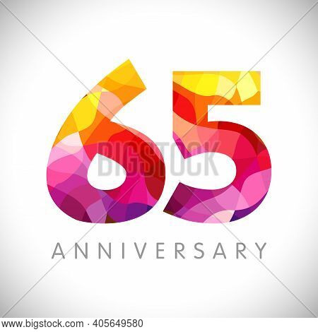65 Th Anniversary Numbers. 65 Years Old Logotype. Bright Congrats. Isolated Abstract Graphic Web Des