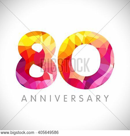 80 Th Anniversary Numbers. 80 Years Old Coloured Congrats. Cute 3d Congratulation Concept. Isolated
