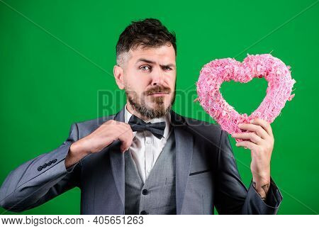 Love. Wedding Day. Bearded Man In Formal Suit. Stylish Esthete With Decorative Heart. Businessman In