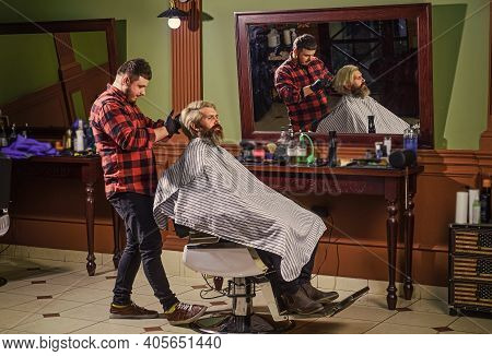 Near Impossible To Modify Proceedings. Man With Dyed Hair. Barber Hairstyle Barbershop. Hipster Gett
