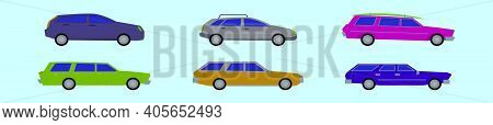 Set Of Station Wagon Cartoon Icon Design Template With Various Models. Modern Vector Illustration Is