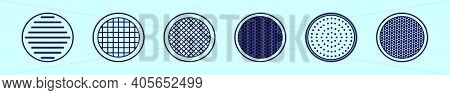 Set Of Speaker Grill Cartoon Icon Design Template With Various Models. Modern Vector Illustration Is
