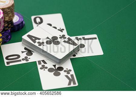 Poker game Clubs royal flush