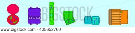 Set Of Pillbox Cartoon Icon Design Template With Various Models. Modern Vector Illustration Isolated