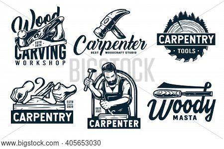 Set Of Carpentry Emblems For Wood Carving Joiner
