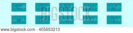 Set Of Heart Rhythm Cartoon Icon Design Template With Various Models. Modern Vector Illustration Iso
