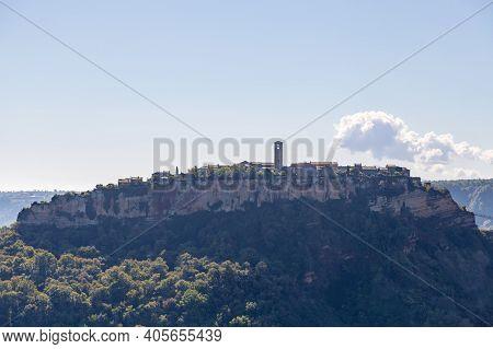 Side View Of The Town Of Civita Di Bagnoregio Also Known As