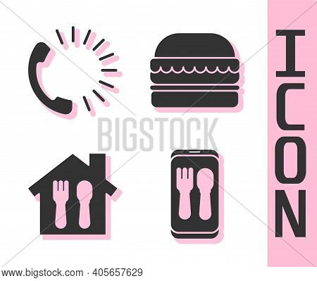 Set Online Ordering And Delivery, Food Ordering, Online Ordering And Delivery And Burger Icon. Vecto