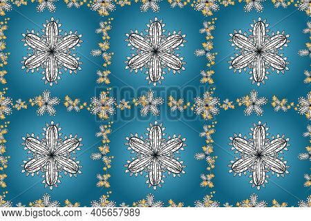 Seamless Floral Pattern Witt White Doodles Flower On Colorful Background. Pano Illustration.