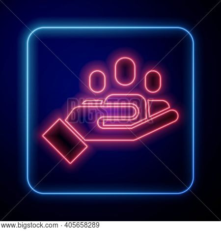 Glowing Neon Hand For Search A People Icon Isolated On Blue Background. Recruitment Or Selection Con