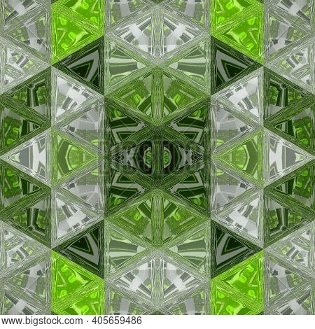 Geometric Textured Background In Spring Colors. Cubic Green Triangles Abstract Pattern