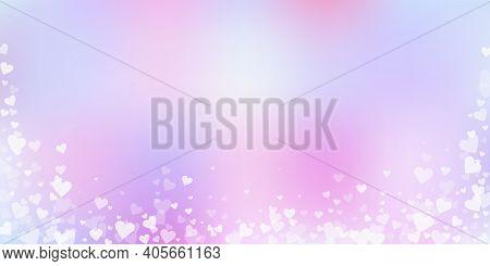 White Heart Love Confettis. Valentines Day Falling Rain Wonderful Background. Falling Transparent He