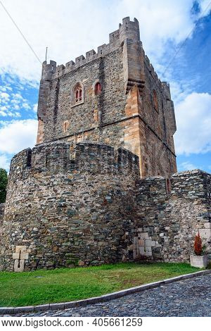 Braganca Medieval Castle. View Of The Tower Of The Castle Of Braganca, A Medieval Fort, Located In T