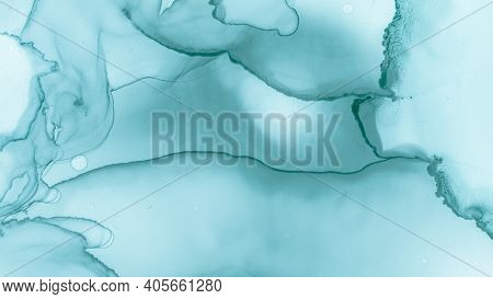 Pastel Fluid Liquid. Blue Sea Creative Abstraction. Watercolour Color Illustration. Watercolour Pain