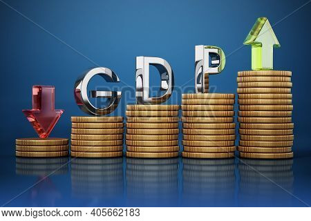 Gdp Word, Rising And Falling Arrows And Coins. Gross Domestic Product Concept. 3d Illustration.
