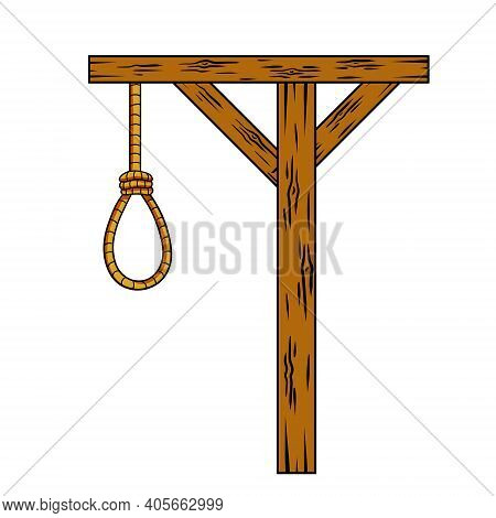 Gallows. Wooden Structure For Execution. Medieval Justice. Place Of Death. Murder And Punishment. Ro