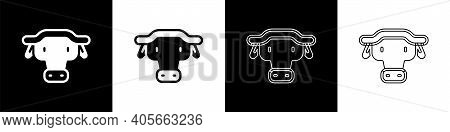 Set African Buffalo Head Icon Isolated On Black And White Background. Mascot, African Savanna Animal