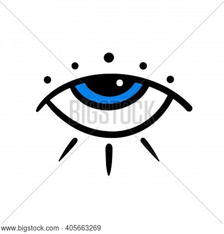 Decorative Blue Eye Icon. Intuition And Spirituality Concept. Evil Eye Symbol.