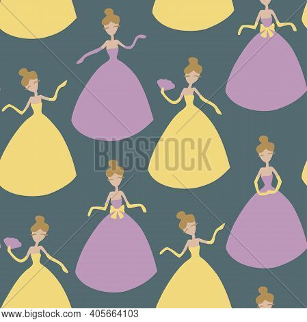 Vector Seamless Pattern With Ladies Cartoon Characters. Ladies In Colorful Yellow And Purple Dresses