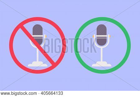 Microphone Muted And Unmuted Illustration Set, Classic Mic Shape