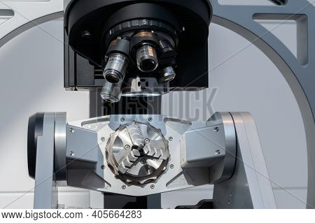 Moscow, Russia - January 5, 2020: Metalworking Exhibition. Industrial Microscope For Metalworking Ma