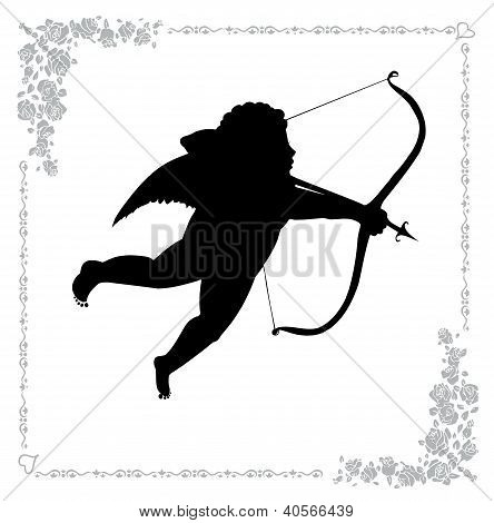 Silhouette Of Cupid With An Arrow