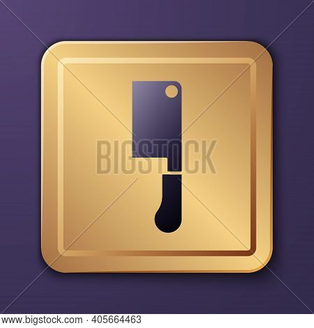 Purple Meat Chopper Icon Isolated On Purple Background. Butcher Knife. Kitchen Knife For Meat. Butch