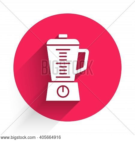 White Blender Icon Isolated With Long Shadow. Kitchen Electric Stationary Blender With Bowl. Cooking