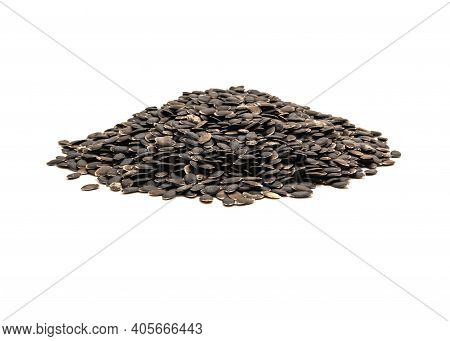 Top View Huge Mound Of Luffa Or Loofah, Luffa Aegyptiaca Seeds Isolated On White Background