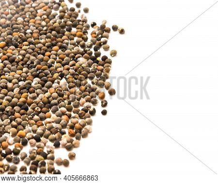 Many Okra Or Lady Fingers, Abelmoschus Esculentus Seeds Spreading Isolated On White Background