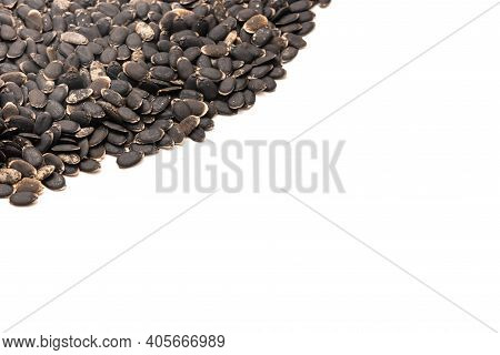 Spreading Of Luffa Or Loofah, Luffa Aegyptiaca Seeds With Copy Space Isolated On White Background