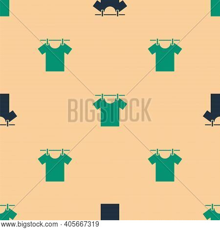 Green And Black Drying Clothes Icon Isolated Seamless Pattern On Beige Background. Clean Shirt. Wash