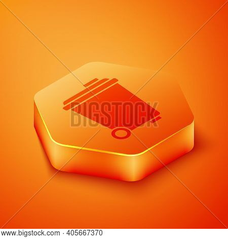 Isometric Trash Can Icon Isolated On Orange Background. Garbage Bin Sign. Recycle Basket Icon. Offic